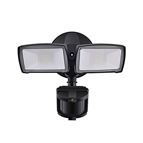 LED Security Lights, 28W 3000LM Motion Sensor Light Outdoor, GLORIOUS-LITE Super Bright 2 Head Outdoor Flood Light, 5500K, IP65 Waterproof, ETL Certified for Garage, Yard, Porch - Black