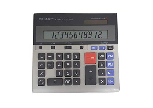 Sharp QS-2130 12-Digit Commercial Desktop Calculator with Kickstand, Arithmetic Logic, Battery and Solar Hybrid Powered LCD Display, Great For Home and Office Use,Gray and Black