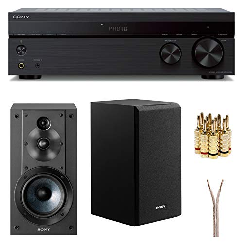 Sony STRDH190 2-ch Stereo Receiver with Phono Inputs & Bluetooth SSCS5 3-Way 3-Driver Bookshelf Speaker System (Black)