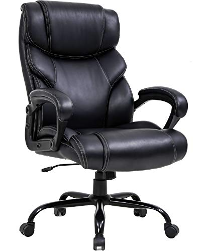 Big and Tall Office Chair 400lbs Wide Seat Ergonomic Desk Chair with Lumbar Support Arms High Back PU Leather Executive Task Computer Chair for Heavy People Women