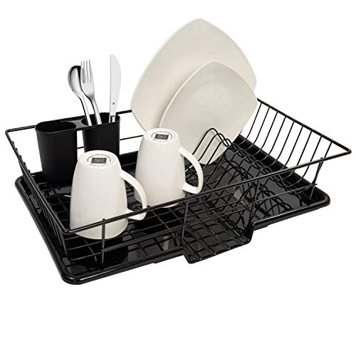 Sweet Home Collection Dish Drainer Drain Board and Utensil Holder Simple Easy to Use, 12' x 19' x 5', Black