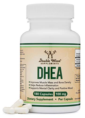 DHEA 100mg  180 Capsules -Third Party Tested, Made in The USA (Max Strength, 6 Month Supply) Hormone Balance for Women and Men by Double Wood Supplements