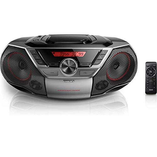 Philips Portable Boombox CD Player Bluetooth FM Radio MP3 Mega Bass Reflex Stereo Sound System with NFC, 12W, USB Input, Headphone Jack, and LCD Display