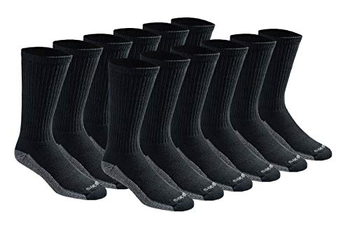 Dickies Men's Big and Tall Dri-tech Moisture Control Crew Socks Multipack, Black (12 Pairs), Shoe Size: 12-15
