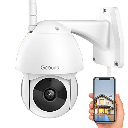 Security Camera Outdoor, Goowls 1080P HD WiFi Home Surveillance IP Camera Wireless with Pan/Tilt 360 View Waterproof Night Vision 2-Way Audio Motion Detection Activity Alert Cloud Service