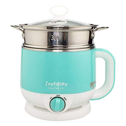 Joyfulsky 1.5L Electric Hot Pot with Steamer Green Color 304 Stainless Steel Pot Student Pot Mini Cooker Multi-function Pot Noodles Cooker Dumpling Cooker Dry Burning Protection Dual Power Travel Pot Fruit Steamer