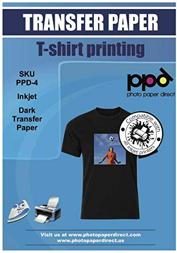 PPD Inkjet Iron-On Dark T Shirt Transfers Paper LTR 8.5x11' Pack of 5 Sheets (PPD-4-5)