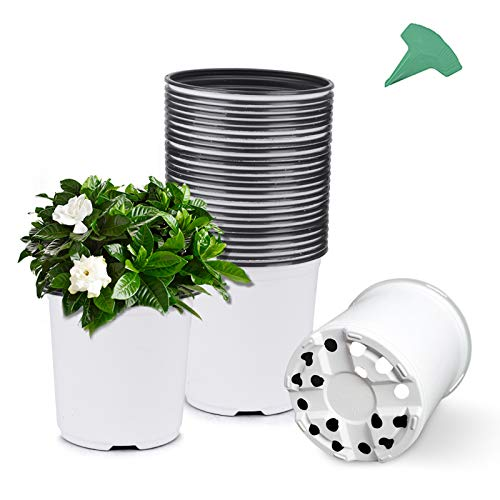GROWNEER 24 Packs 0.7 Gallon White Flexible Nursery Pot Flower Pots with 15 Pcs Plant Labels, Plastic Plant Container Perfect for Indoor Outdoor Plants, Seedlings, Vegetables, Succulents and Cuttings
