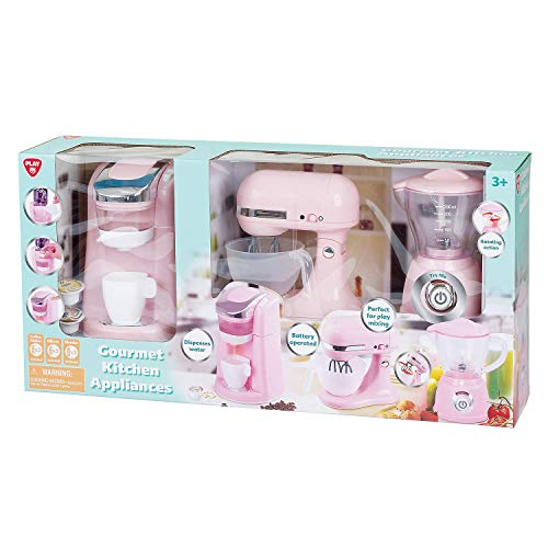 Kitchen Appliances GOURMET Child Size (Pink & Off White) w BATTERY Operated COFFEE MAKER (Dispenses Water), Battery Operated MIX MASTER, and TOASTER (or Blender)