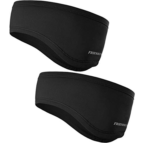 The Friendly Swede Running Headband Ear Warmer - 2-Pack, Sports Headband for Outdoors, Running, Cycling, Hiking - Ideal as Liner Under Helmets (Black)