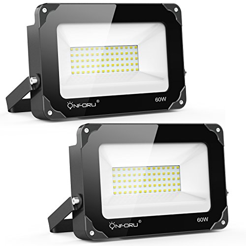 Onforu 2 Pack 60W LED Flood Light, 6000lm Super Bright LED Floodlight, IP65 Waterproof Outdoor Security Lights, 5000K Daylight White Flood Light for Yard, Playground, Basketball Court