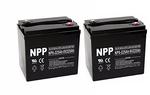 NP6-225Ah 6V 225Ah AGM Deep Cycle Battery Camper Golf Cart RV Boat Solar Wind Power / (2pcs)