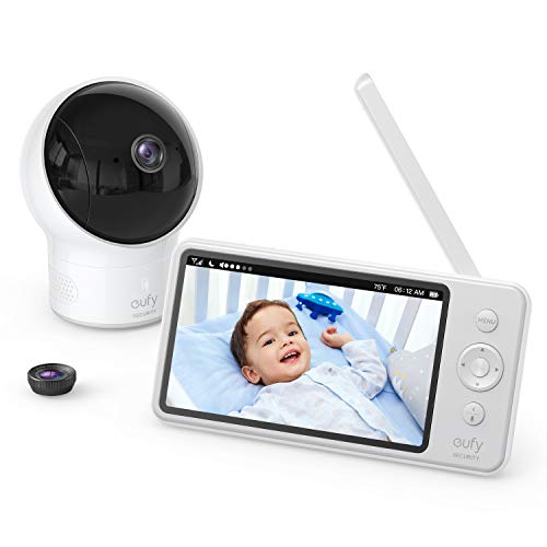 Video Baby Monitor, eufy Security, Video Baby Monitor with Camera and Audio, 720p HD Resolution, Night Vision, 5' Display, 110° Wide-Angle Lens Included, Lullaby Player, Ideal for New Moms