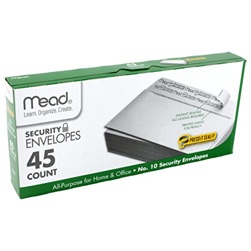 Mead #10 Envelopes, Security, Press-it Seal-it, 4-1/8' X 9-1/2', White, 45 Per Box (75026)