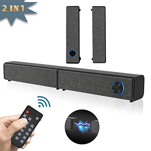 Sound Bar for TV 2 in 1 Detachable Soundbar with Subwoofer 20.21 Inch 3D Surround Sound System for Home Theater 2.0 Channel Wired & Wireless Bluetooth 5.0 Audio Stereo Speaker for PC/Phone/Desktop