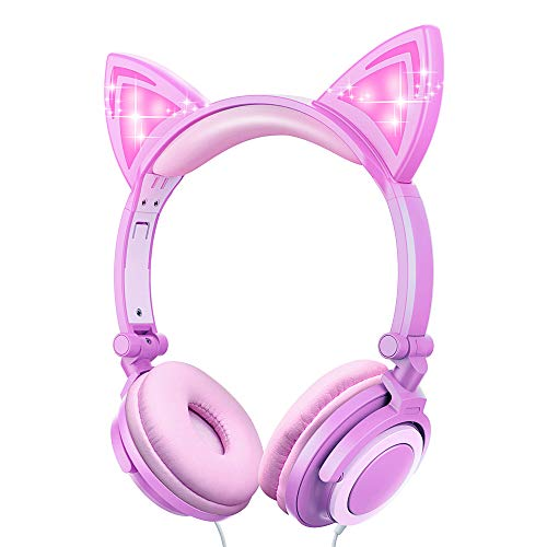 Kids Cat Ear Headphones LED Light Up Earphone Wired Adjustable Kids Headband Earphone Foldable Over On Ear Game Headset for iPad Tablet Home School (Cat Ear-Pink Purple)