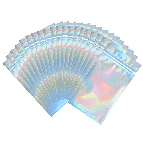 100pcs Smell Proof mylar bags 4mil super thick holographic Bags with zip lock Resealable packaging supplies decorative ziplock bag for jewelry lip gloss cookie shipping etc (5.51''Wx7.87''L)