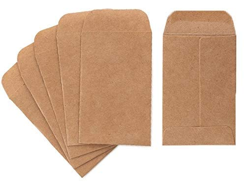 Coin and Small Parts Envelopes 100 Pack 2.25'x 3.5' with Gummed Flap for Homes and Office Use (100 Pack)