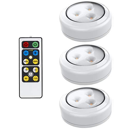 Brilliant Evolution LED Puck Light 3 Pack with Remote   Wireless LED Under Cabinet Lighting   Under Counter Lights for Kitchen   Battery Operated Lights   Under Cabinet Light   Battery Powered Lights