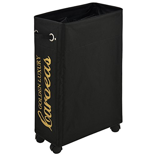 Caroeas Laundry Cart, Laundry Basket with Wheels Collapsible Laundry Basket Waterproof Laundry Organizer with Breathable Drawstring Mesh Cover (Slim 22',Black)