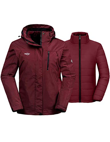 Wantdo Women's Snowboarding Coat Raincoat with Removable Puffer Liner Wine Red L