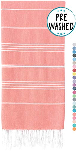 WETCAT Original Turkish Beach Towel (39 x 71) - Prewashed Peshtemal, 100% Cotton - Highly Absorbent, Quick Dry and Ultra-Soft - Washer-Safe, No Shrinkage - Stylish, Eco-Friendly - [Dark Coral]
