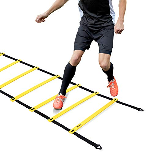 Ohuhu Agility Ladder Speed Training Exercise Ladders for Soccer Football Boxing Footwork Sports Speed Agility Training with Carry Bag 20ft 12 Rung Yellow