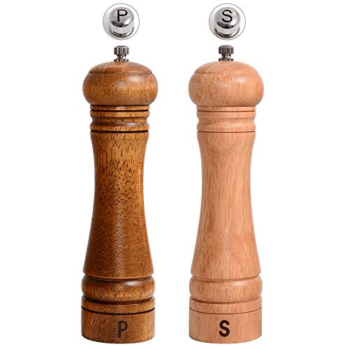 Haomacro Salt and Pepper Grinder Set, Wooden Pepper Grinders, Salt and Pepper Mills Shakers with Adjustable Ceramic Core,8 Inch,2 Pack,Brown,Beige