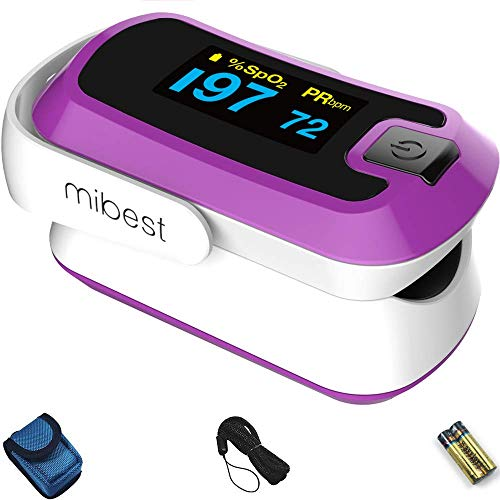 MIBEST Purple Dual Color OLED Finger Pulse Oximeter - Blood Oxygen Saturation Monitor with Color OLED Screen Display and Included Batteries - O2 Saturation Monitor