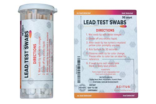 Scitus Lead Test Kit with 30 Testing Swabs Rapid Test Results in 30 Seconds Just Dip in White Vinegar to Use Lead Testing Kits for Home Use Reagent, Suitable for All Painted Surfaces