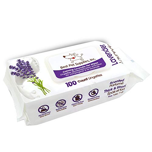 Lavender-Scented Calming Pet Wipes for Dogs & Cats – Extra Soft & Strong Grooming Wipes with Gentle Plant-Derived Formula – by Best Pet Supplies, Model Number: WW-LA-100T