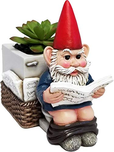 DWK - Serious Business - Gnome on Toilet Reading The Newspaper Garden Pot Planter Plant Container Whimsical Garden Accessory Patio Accent, 6.5-inch