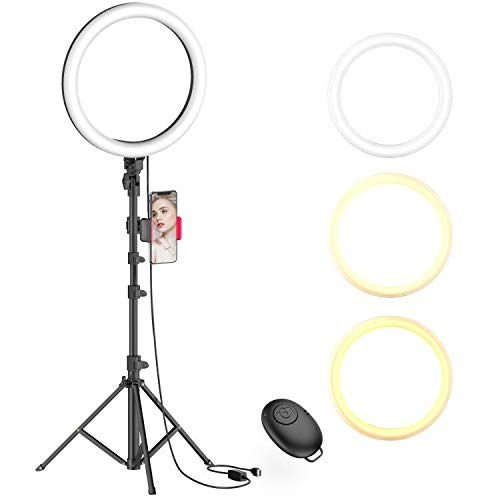 10' Selfie Ring Light with Tripod Stand & Phone Holder for Live Stream/Makeup, Dimmable Led Camera Beauty Ringlight for YouTube TikTok/Photography Compatible for iPhone and Android Phone(Upgraded)