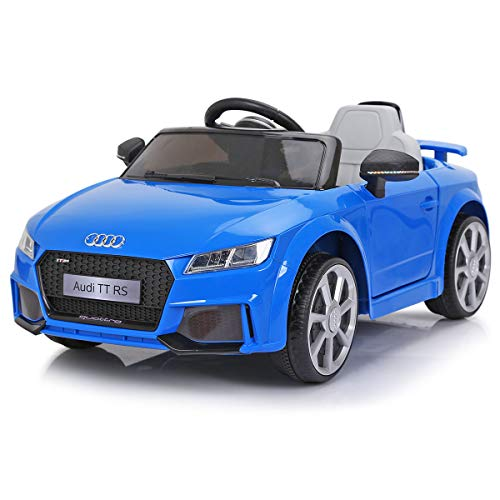 JAXPETY Audi TT 12V Electric Kids Ride On Car Licensed MP3 LED Lights RC Remote Control (Blue)