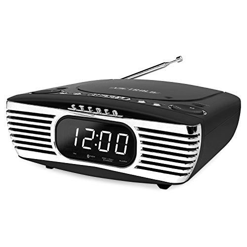 Victrola Bedside Digital LED Alarm Clock Stereo with CD Player and FM Radio, Black