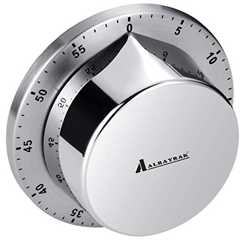 Kitchen Timer, Chef Cooking Timer Clock with Loud Alarm, No Batteries Required, 100% Mechanical - Magnetic Backing, Exquisite Stainless Steel Body - Countdown Reminder - Silver 1Pack