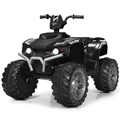 Costzon Ride on ATV, 12V Battery Powered Electric Vehicle w/ LED Lights, High &Low Speed, Horn, Bluetooth, Radio, USB, Rear Wheel Motorized Ride on 4 Wheeler Quad Car for Boys Girls (Black)