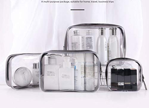 4 Pack Clear Cosmetic Bag, Portable Waterproof PVC Zippered Toiletry Carry Pouch Portable Makeup Bag Organizer Bag Set for Travel, Bathroom