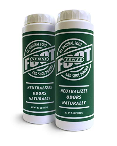 Natural Shoe Deodorizer Powder & Foot Odor Eliminator - for Smelly Shoes, Body, Stinky Feet. Use for Jock Itch and Athletes Foot. Talc Free, Made in USA - FOOT SENSE (2 Pack)