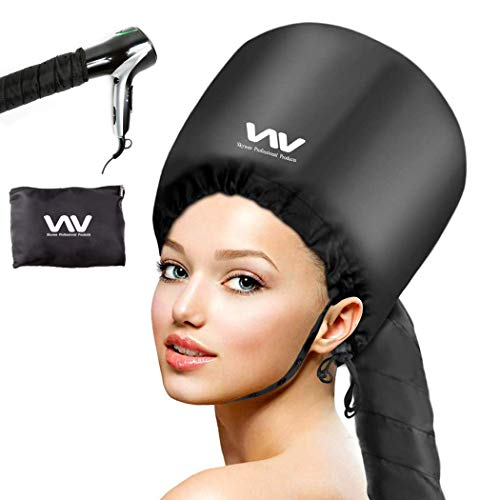 Bonnet Hood Hair Dryer Attachment Set - Soft Adjustable Hooded Bonnet for Hand Held Hair Dryer - Including Mask Cap for Drying Styling Curling Deep Conditioning
