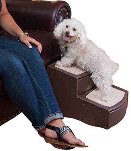 Pet Gear Easy Step II Pet Stairs, 2 Step for Cats/Dogs up to 75-pounds, Portable, Removable Washable Carpet Tread, Chocolate