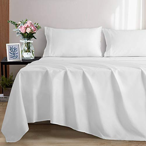 EASELAND 100% Cotton Sheets King Size Bed Sheets Set 600 Thread Count Cooling Bedding Soft Hypoallergenic Breathable 4 Pieces 14' Deep Pocket (King, White)