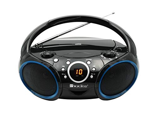 Portable CD Boombox with AM FM Analog Tuning Radio, 3.5 mm aux in (3.5mm Cable Included), Headphone Jack, AC or DC Powered