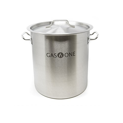 GasOne SP-32 Stainless Steel Brew Kettle Pot 8 Gallon 32 Quart Satin Finish with Lid/Cover