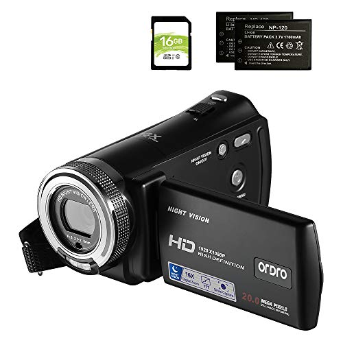 Camcorders ORDRO HDV-V12 HD 1080P Video Camera Recorder Infrared Night Vision Camera Camcorders with 16G SD Card and 2 Batteries