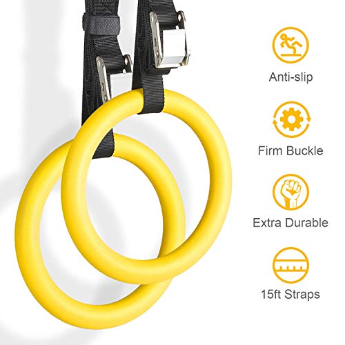 YISSVIC Professional Gymnastic Rings Bodyweight Workout and Strength Training Olympic Non-Slip Rings with Adjustable Straps for Crossfit and at Home Gym Workouts 2 Pack