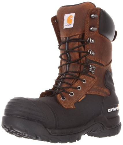 Carhartt Men's 10' Waterproof Insulated PAC Composite Toe Boot CMC1259,Brown Oiltan/Black Coated,9.5 M US