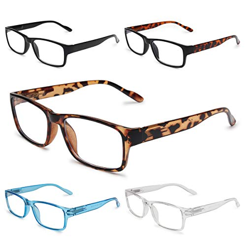 GAOYE 5-Pack Reading Glasses Blue Light Blocking with Spring Hinge,Readers for Women Men Anti Glare Filter Lightweight Eyeglasses (5-Pack, 2.0)