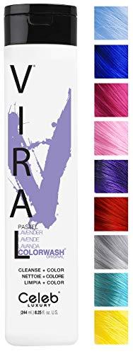 Celeb Luxury Viral Colorwash: Pastel Lavender Color Depositing Shampoo Concentrate, 10 Vivid and Pastel Colors, Stops Fade, 1 Quick Wash, Cleanse + Color, No Sulfates, No Cruelty, 100% Vegan
