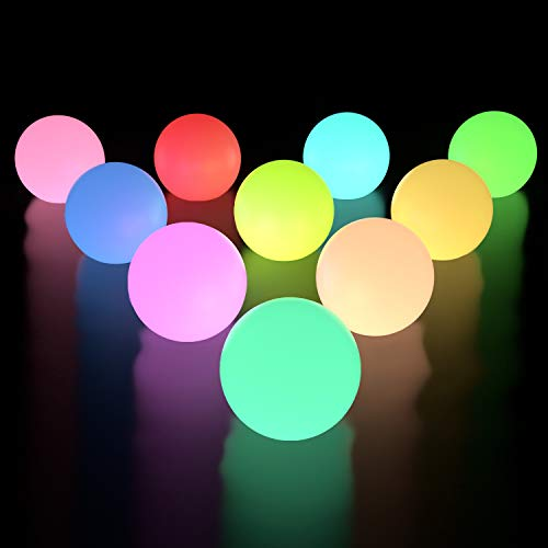 LOFTEK Floating Pool Lights 10 Packs, IP65 Full Waterproof Floating Light, Color Changing LED Glow Balls with 6 PCS Extra Batteries for Pond Pool Decorations Outdoor Indoor Hot Tub Bath Pool Toys